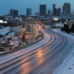 Stand-still traffic and Icy Road Conditions in Atlanta Snow Storm