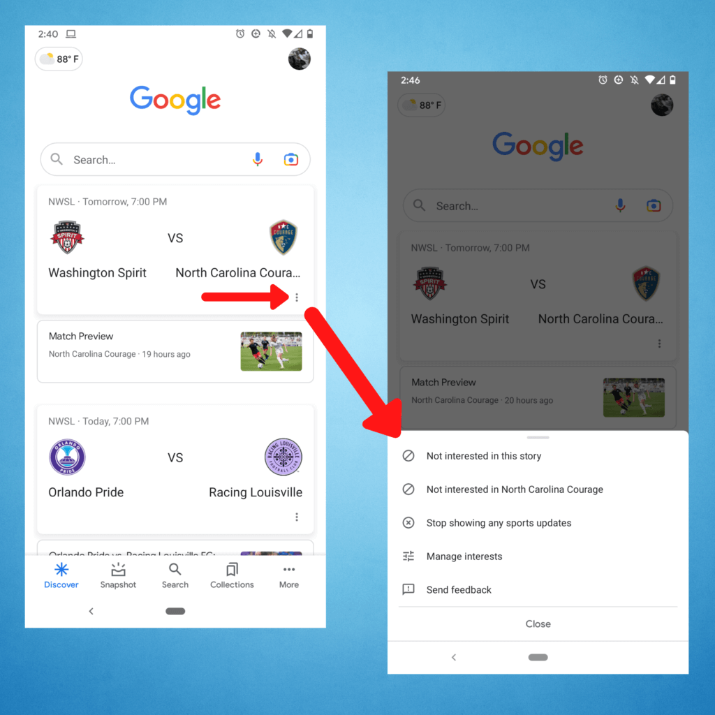 Users can customize the content that appears in their Google Discover feed